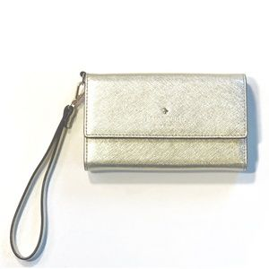 Kate Spade Metallic Gold Wristlet Wallet Clutch